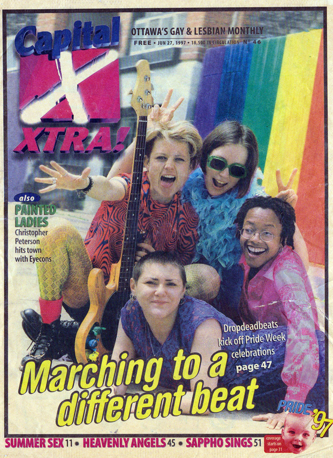 Making a splash on the cover of Xtra Magazine with Dropdeadbeats, 1997