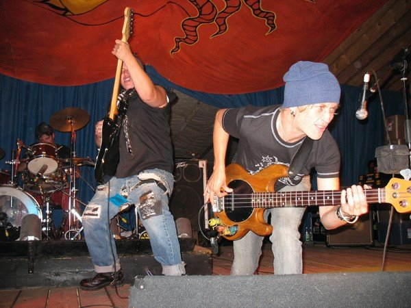 Cutting loose with the power trio version of Random Order at Robson Valley, 2007.