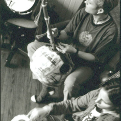 Playing my genuine African n'goni with Yala, 2005. Jayme Stone, banjo and Morgan Doctor, percussion