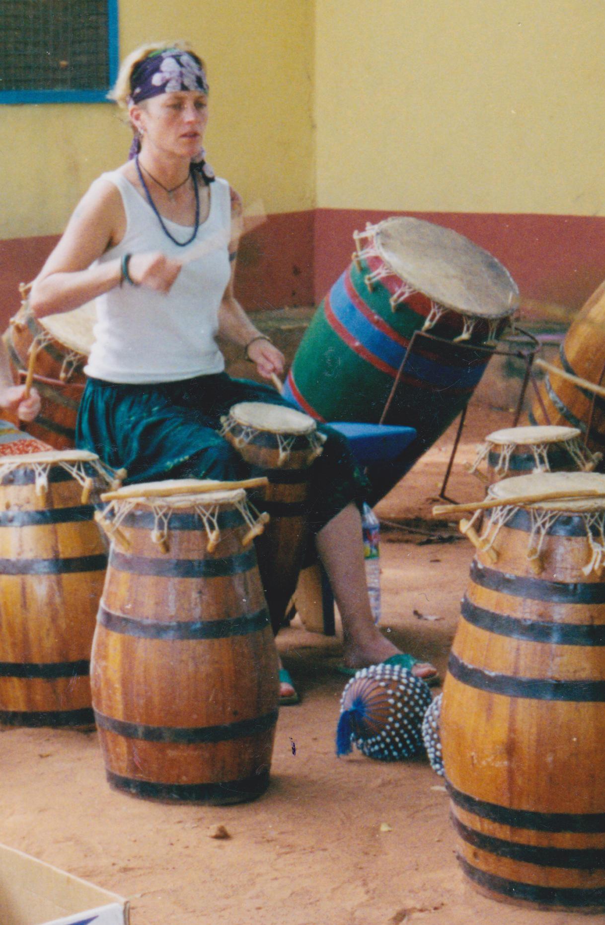 Studying Ewe drumming in Ghana, 2002