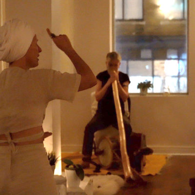 Playing didgeridoo for Buddha On Fire charity yoga class, 2019. We produce this event a few times a year to benefit education for kids in a Nairobi slum.