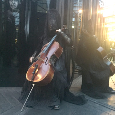 Playing at the Luminato Festival house of mirrors as The Ghost Cellist, Toronto, 2019
